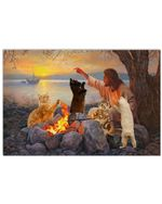 Cats Have Dinner Time Surrounded God Horizontal Poster Gift For Cats Lovers Cats Moms God Believers Poster