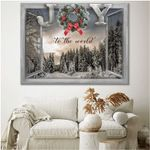 Joy to the world snowing tree in winter through window at Christmas poster canvas gift for loved one Poster
