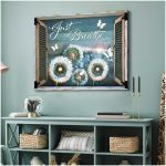 Just breathe beautiful white dandelion and butterfly through rustic window poster canvas gift for yogis yoga teachers Poster