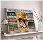 Personalized Family Rules Farmhouse Wall Decor poster canvas best gift for with custom photo and text for family lovers Poster