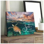 Everyday is a new beginning take a deep breath smile start again Turtle Motivational Poster Gift for Turtles Lovers Beach Lovers Poster