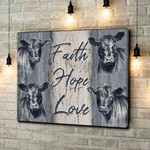 Faith Hope Love Cows Canvas Poster gift for Cows Lovers God Jesus Christian Believers Poster