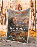 To My Son if they whisper to you i am The Storm From Dad lion quilt blanket best gift for son Quilt Blanket
