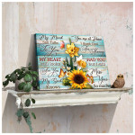 Sunflower and Butterflies My mind still talks to you poster canvas best gift for sunflower lovers Poster
