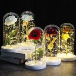 🎉Led Enchanted Rose   Galaxy Rose Or Red Rose In Glass Dome, Luxury Gift Box