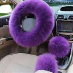 UK Fluffy Car Steering Wheel Cover Set