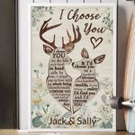 Personalized Deer I Choose You Vertical Canvas