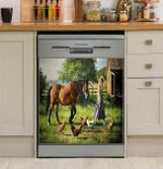 Horse And Chickens In Their Decor Kitchen Dishwasher Cover