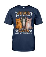 Jesus is my savior Cats are my therapy Classic T-Shirt