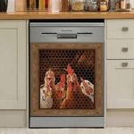 🐔 Funny Rooster Chicken Decor Kitchen Dishwasher Oven Cover 5