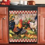🐔Funny Rooster Chicken Decor Kitchen Dishwasher Cover 4