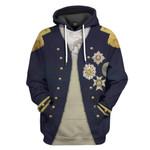 Alohazing 3D Nelson Uniform as worn at Trafalgar Napoleonic Wars British Navy Custom Hoodie Apparel