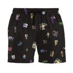 2D Minecraft Characters Custom Beach Shorts