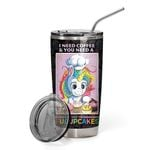 2D Coffee And Shut The Fucupcakes Custom Name Design Vacuum Insulated Tumbler