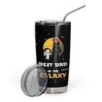 2D Best Dad In The Galaxy Custom Name Design Vacuum Insulated Tumbler