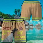 Alohazing 3D Firefighter Stop Staring At My Fire Hose Beach Shorts
