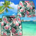 Alohazing 3D Pink Flamingo Hawaiian Beach Short