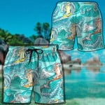 Alohazing 3D Cat Surfing Hawaii Beach Shorts