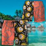 Alohazing 3D Fire Skull Hawaiian Beach Shorts