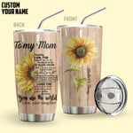 Alohazing 3D To My Mom You Are The World Personalized Tumbler