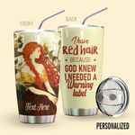 Alohazing 3D Redhead Personalized Tumbler Warning Label