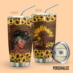Alohazing 3D Black Woman Personalized Tumbler Sunflowers