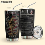 Alohazing 3D Veteran Nutrition Facts Personalized Tumbler