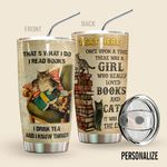 Alohazing 3D Cat Personalized Tumbler Reading Books