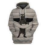Alohazing 3D Black Cat Tshirt Hoodie Apparel