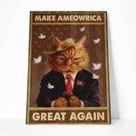Alohazing 3D Make Ameowrica Great Again Canvas