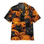 Alohazing 3D Black Cat And Pumpkin Hawaii Shirt