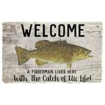 Alohazing 3D A Fisherman Lives Here Doormat