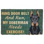 Alohazing 3D Ring Door Belt And Run Doberman Doormat