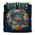 Hawaiian Bedding Set, Tropical Turtle Hibiscus Duvet Cover Bn04
