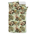 Hawaii Vintage Tropical  Jungle Leaves Orchid Bird  Bedding Set J71