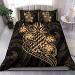 Polynesian Bedding Set - Hawaii Duvet Cover Set Gold Pineapple - Bn12
