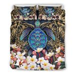 Kanaka Maoli (hawaiian) Bedding Set - Polynesian Turtle Plumeria Coconut Tree Gold A24