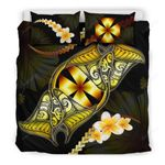 Wallis And Futuna Bedding Set Plumeria - Polynesian Manta Ray Yellow A18