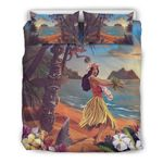 Hawaii Tropical Bedding Set, Tiki Dancing Hula Girl Duvet Cover And Pillow Case Nn9