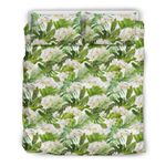 Hawaii Bedding Set, Plumeria Tropical Leaf Duvet Cover And Pillow Case J7