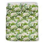 Hawaii Bedding Set, Plumeria Tropical Leaf Duvet Cover And Pillow Case J7