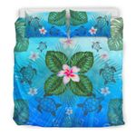 Hawaii Bedding Set, Palm Leaf Plumeria Turtle Duvet Cover And Pillow Case Bn04