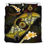 Kiribati Bedding Set Plumeria - Polynesian Manta Ray Yellow A18