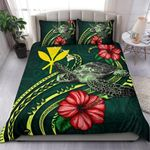 Polynesian Bedding Set - Hawaii Duvet Cover Set Green Turtle Hibiscus - Bn12