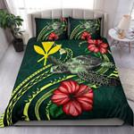 Polynesian Bedding Set - Hawaii Duvet Cover Set Green Turtle Hibiscus - Bn12