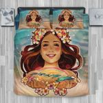 Hawaii Bedding Set, Hula Girl Plumeria Duvet Cover And Pillow Case J8