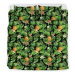 Hawaii Pineapple Bedding Set, Tropical Leaf Duvet Cover And Pillow Case A7