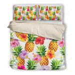 Hawaii Pineapple Bedding Set, Hibiscus Duvet Cover And Pillow Case W8