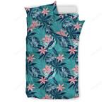 Hawaii Tropical Monstera Leaf Blue Bedding Set J71