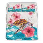 Hawaiian Bedding Set - Vintage Turtle Hibiscus Ocean Aloha Duvet Cover A0